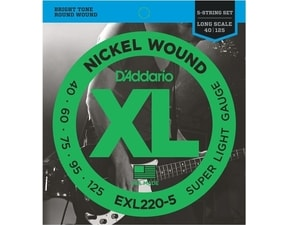 D´Addario EXL220-5 Nickel Wound Long Scale Bass Super Light .040-.125 struny na basovou kytaru