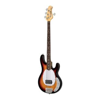 Sterling By MusicMan Classic Active RAY25CA-3TS 5 String Bass, 3 Tone Sunburst finish, 2 band EQ, Mahagony body, Antique Stained maple neck