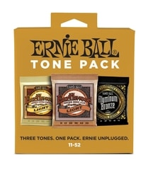 3314 Ernie Ball Light Acoustic Guitar Tone Pack(80/20 Earthwood, Phosphor Bronze, Aluminium Bronze)